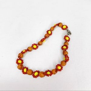 Southwest Native Yellow Red Beaded Daisy Bracelet